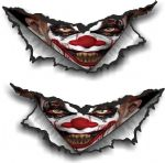 XLARGE Pair Triangular Ripped Torn Metal & Evil Horror Clown Vinyl Car Sticker Decal 300x140mm Each